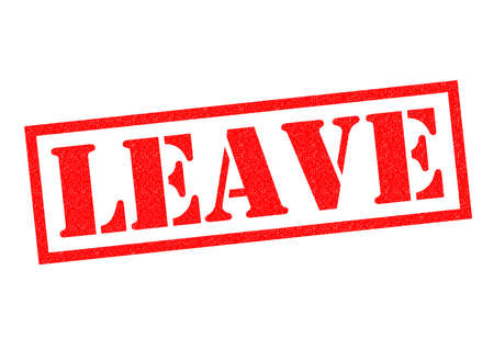 remain: LEAVE red Rubber Stamp over a white background. Stock Photo