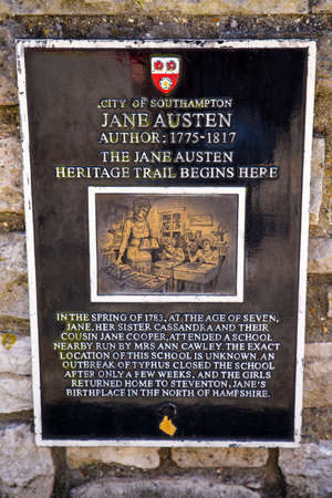 jane: A plaque marking the nearby location where Jane Austen attended school in Southampton, UK.