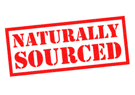 sourced: NATURALLY SOURCED red Rubber Stamp over a white background.