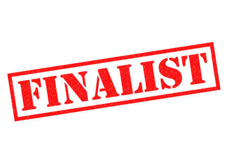 runner up: FINALIST red Rubber Stamp over a white background. Stock Photo