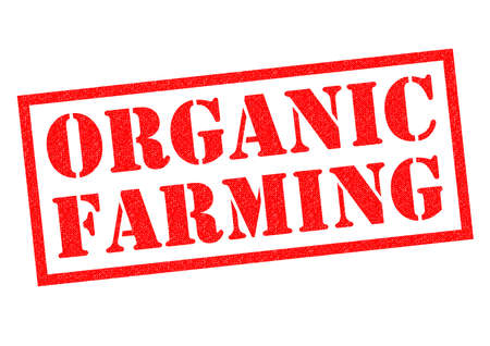ORGANIC FARMING red Rubber Stamp over a white background.