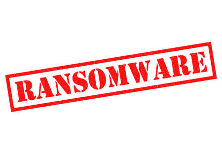infect: RANSOMWARE red Rubber Stamp over a white background.