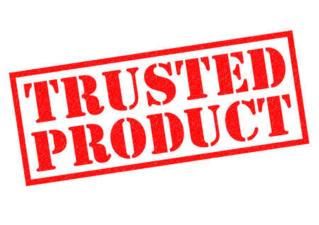 trusted: TRUSTED PRODUCT red Rubber Stamp over a white background. Stock Photo