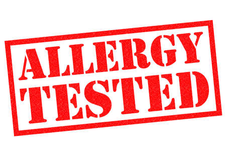 hay fever: ALLERGY TESTED red Rubber Stamp over a white background.