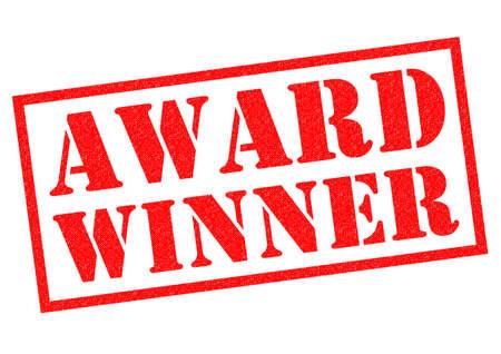 award winner: AWARD WINNER red Rubber Stamp over a white background.