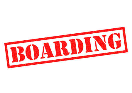 boarded: BOARDING red Rubber Stamp over a white background.