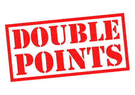 point: DOUBLE POINTS red Rubber Stamp over a white background. Stock Photo