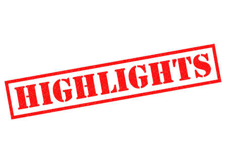 highlights: HIGHLIGHTS red Rubber Stamp over a white background. Stock Photo