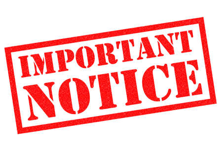 important notice: IMPORTANT NOTICE red Rubber Stamp over a white background.