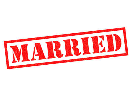 marrying: MARRIED red Rubber Stamp over a white background.