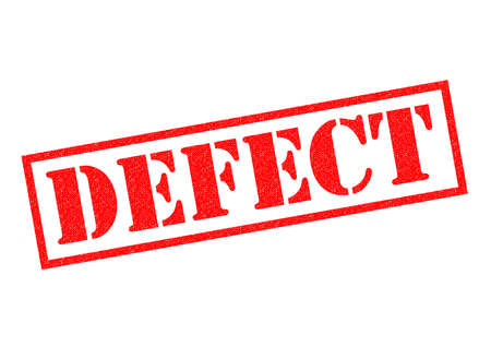 deficient: DEFECT red Rubber Stamp over a white background.