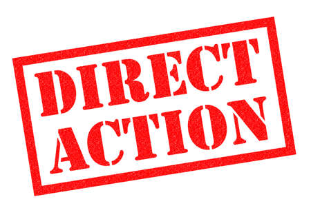 direct: DIRECT ACTION red Rubber Stamp over a white background. Stock Photo