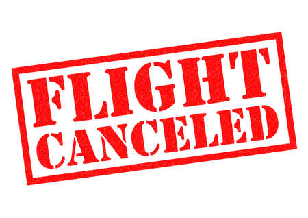 canceled: FLIGHT CANCELED (US spelling) red Rubber Stamp over a white background.