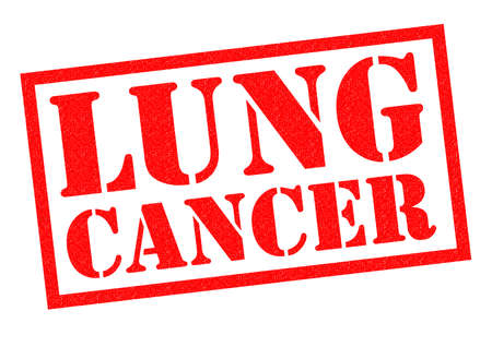 lung cancer: LUNG CANCER red Rubber Stamp over a white background.