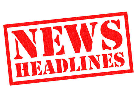 newsflash: NEWS HEADLINES red Rubber Stamp over a white background.