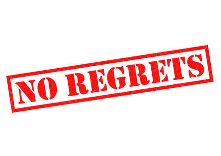 contented: NO REGRETS red Rubber Stamp over a white background.