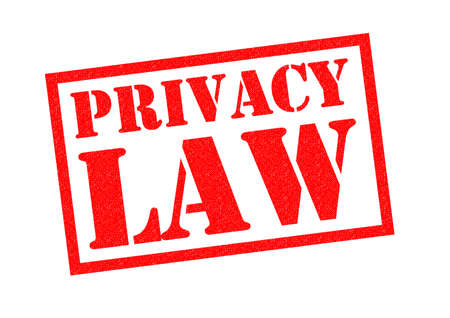 insecure: PRIVACY LAW red Rubber Stamp over a white background.