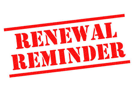 renewal: RENEWAL REMINDER red Rubber Stamp over a white background. Stock Photo