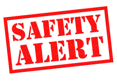 alerting: SAFETY ALERT red Rubber Stamp over a white background.