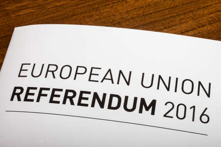remain: LONDON, UK - JUNE 16TH 2016: The title of a guide on the European Union Referendum 2016, taken on 16th June 2016.  The referendum will decide if the UK will remain or leave the EU.