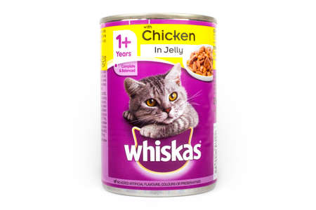 LONDON, UK - JUNE 16TH 2016: A tin of Whiskas Cat food pictured over a plain white background, on 16th June 2016.  The Whiskas brand is owned by American company Mars, Incorporated. Editorial