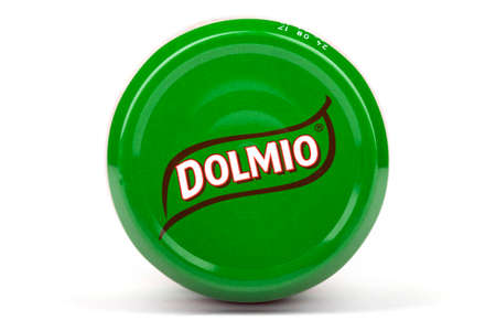 incorporated: LONDON, UK - JUNE 16TH 2016: Close-up of the Dolmio brand name on the lid of one of their products, on 16th June 2016.  Dolmio is a brand of Pasta Sauces made by Mars, Incorporated. Editorial