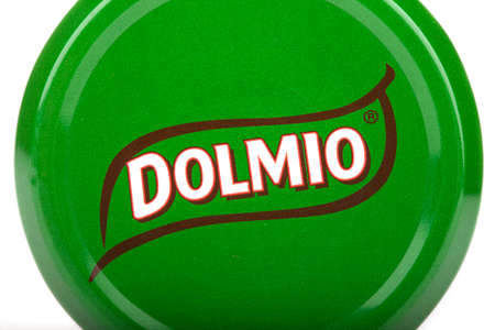 LONDON, UK - JUNE 16TH 2016: Close-up of the Dolmio brand name on the lid of one of their products, on 16th June 2016.  Dolmio is a brand of Pasta Sauces made by Mars, Incorporated. Editorial