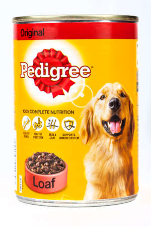 pedigree: LONDON, UK - 16TH JUNE 2016: A tin of Pedigree Dog Food,over a plain white background on 16th June 2016.  Pedigree Petfoods is a subsidiary of Mars, Incorporated. Editorial