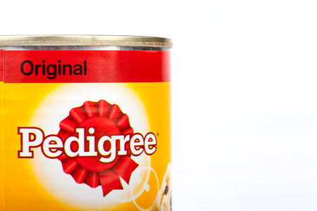 incorporated: LONDON, UK - 16TH JUNE 2016: Close-up of the Pedigree Dog Food logo, over a plain white background on 16th June 2016.  Pedigree Petfoods is a subsidiary of Mars, Incorporated.