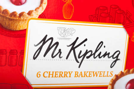mr: LONDON, UK - JUNE 16TH 2016: Close-up of the Mr. Kipling logo on the packaging of one of their food products, on 16th June 2016.  The Mr. Kipling brand has been owned by Premier Foods since 2007.
