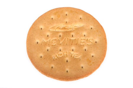 LONDON, UK - JUNE 16TH 2016: A McVities Rich Tea Biscuit isolated over a plain white background, on 16th June 2016. McVities is a brand of British snack food and is owned by United Biscuits. Sajtókép