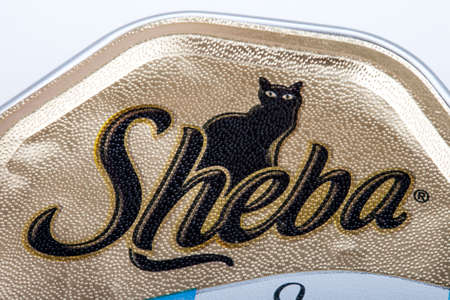 mars incorporated: LONDON, UK - JUNE 16TH 2016: Close-up of the Sheba logo on a tin of Cat food, on 16th June 2016.  The Sheba brand is owned by American company Mars, Incorporated.