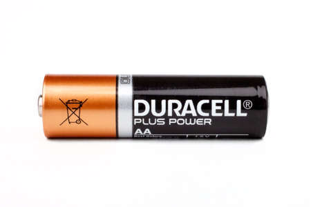 hathaway: LONDON, UK - JUNE 16TH 2016: A close-up of a Duracell AA Battery over a plain white background, on 16th June 2016.  Duracell Inc. is an American company owned by Berkshire Hathaway. Editorial