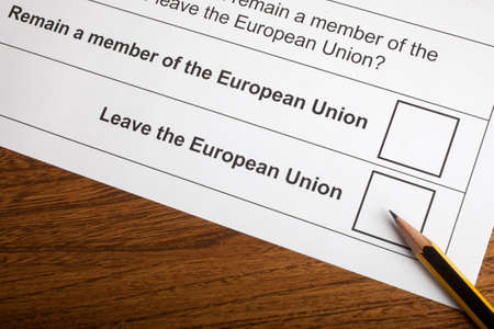 common market: LONDON, UK - JUNE 13TH 2016: The options on the EU Referendum Ballot Paper, taken on 13th June 2016. The options are either for the UK to Remain in the European Union or Leave the European Union.