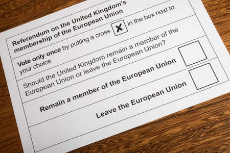 ballot paper: LONDON, UK - JUNE 13TH 2016: The EU Referendum Ballot Paper - a chance for the UK to vote on if they would like to remain in the European Union or Leave the European Union, taken on 13th June 2016.