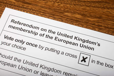 common market: LONDON, UK - JUNE 13TH 2016: The EU Referendum Ballot Paper - a chance for the UK to vote on if they would like to remain in the European Union or Leave the European Union, taken on 13th June 2016.