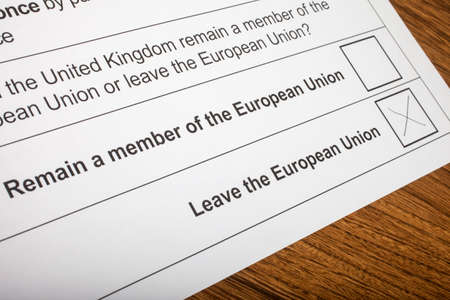 ballot paper: LONDON, UK - JUNE 13TH 2016: The EU Referendum Ballot Paper, with a cross next to the option for the UK to Leave the European Union, taken on 13th June 2016.