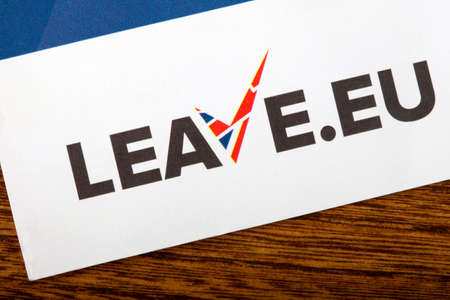 common market: LONDON, UK - JUNE 13TH 2016: A close-up of the Leave the EU logo on a leaflet, taken in London on 13th June 2016.