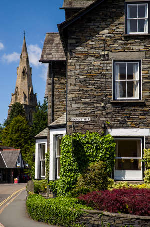 lakeland: A view of Church Street and St. Marys Church in the distance, in Ambleside, the Lake District.