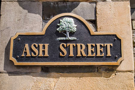lakeland: A street sign for Ash Street, located in Bowness-on-Windermere in the Lake District, UK.