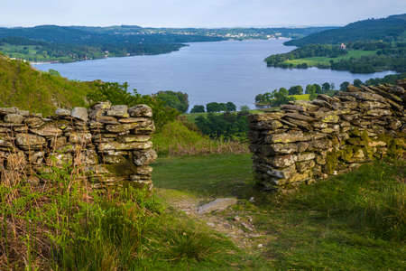 cumbria: A view over Lake Windermere from Loughrigg Fell in the Lake District, UK. Stock Photo