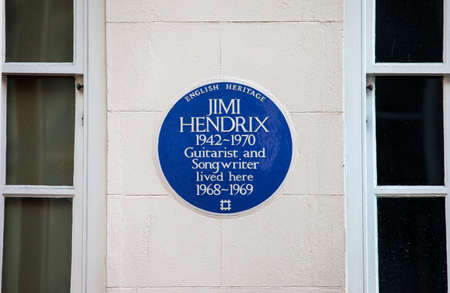 blue plaque: A blue plaque marking the location where iconic guitarist Jimi Hendrix once lived in central London, England.
