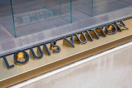 bond street: LONDON, UK - APRIL 7TH 2016: A close-up of a Louis Vuitton symbol at their store on New Bond Street in London, on 7th April 2016.