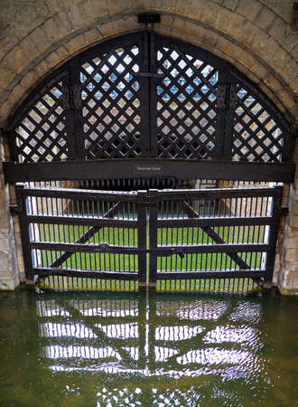 traitor: A view of the historic Traitors Gate at the Tower of London. Editorial