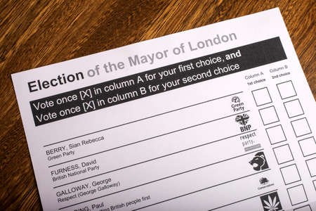 conservatives: LONDON, UK - APRIL 25TH 2016: A Ballot Paper for Mayor of London Election, taken on 25th April 2016.