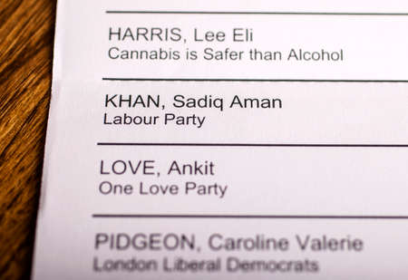 conservatives: LONDON, UK - APRIL 25TH 2016: The name of Sadiq Khan on a ballot paper for the Mayor of London Election, taken on 25th April 2016.  Sadiq Khan is the Labour Party candidate for the 2016 London Mayoral election. Editorial