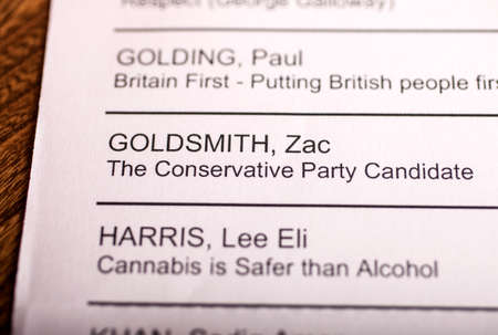 conservative: LONDON, UK - APRIL 25TH 2016: The name of Zac Goldsmith on a ballot paper for the Mayor of London Election, taken on 25th April 2016.  Zac Goldsmith is the Conservative Party candidate for the 2016 London Mayoral election.