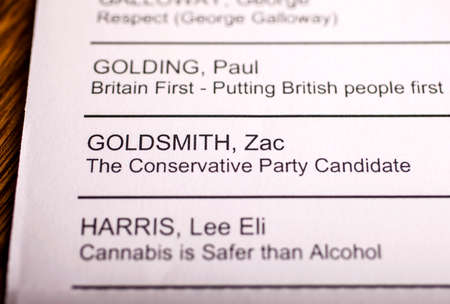 conservatives: LONDON, UK - APRIL 25TH 2016: The name of Zac Goldsmith on a ballot paper for the Mayor of London Election, taken on 25th April 2016.  Zac Goldsmith is the Conservative Party candidate for the 2016 London Mayoral election.