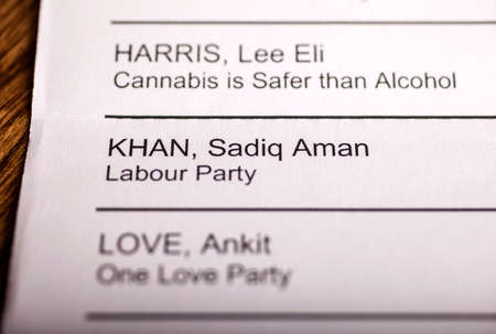 LONDON, UK - APRIL 25TH 2016: The name of Sadiq Khan on a ballot paper for the Mayor of London Election, taken on 25th April 2016.  Sadiq Khan is the Labour Party candidate for the 2016 London Mayoral election. Editorial