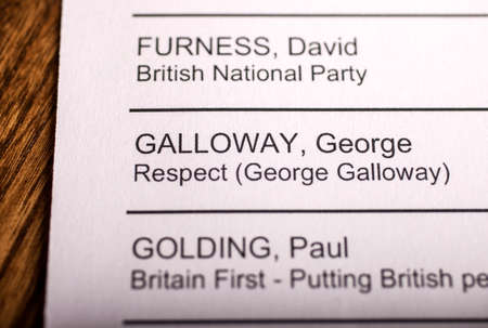 mayoral: LONDON, UK - APRIL 25TH 2016: The name of George Galloway on a ballot paper for the Mayor of London Election, taken on 25th April 2016.  George Galloway is the Respect Party candidate for the 2016 London Mayoral election. Editorial